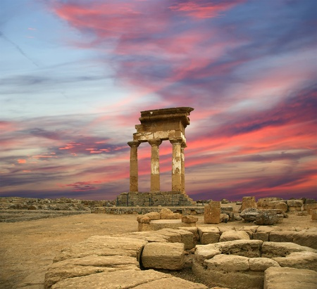 Ancient Greek Temple of the Dioscuri (V-VI century BC), Valley of the Temples, Agrigento, Sicily. The area was included in the UNESCO Heritage Site list in 1997 photo