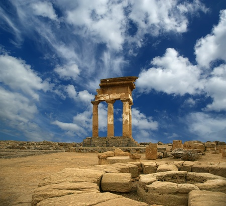 Ancient Greek Temple of the Dioscuri (V-VI century BC), Valley of the Temples, Agrigento, Sicily. The area was included in the UNESCO Heritage Site list in 1997