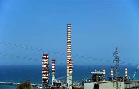 paesaggio industriale: Paesaggio industriale. Raffineria di petrolio Archivio Fotografico