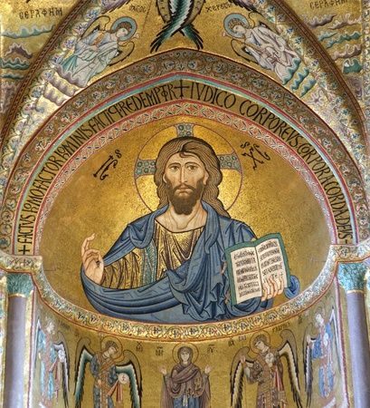 The Christ Pantokrator. Cathedral-Basilica of Cefalu, is a Roman Catholic church in Cefalu, Sicily, southern Italy.