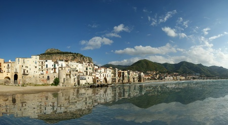 panoramic view of the Cefalu waterfront.  Sicily, Italy. Cefalu is a delicious historic and turistic town in the Palermos area