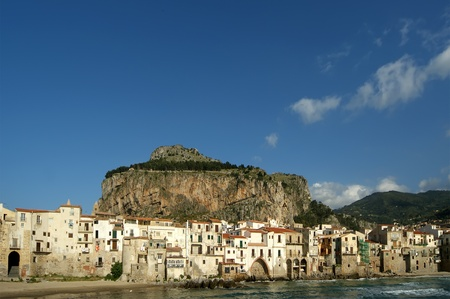 turistic: View of the Cefalu waterfront. Cefalu is a delicious historic and turistic town in the Palermo