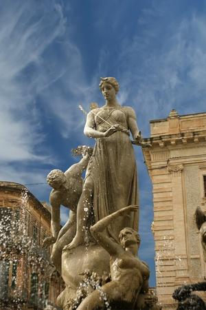 divinity: Artemide fountain. Syracuse (Siracusa, Sarausa)-- historic city in Sicily, Italy