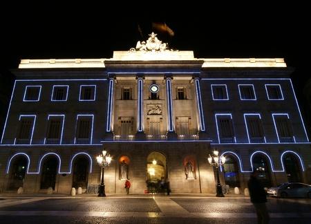 Municipality Palace at night, Barcelona, Catalonia, Spain