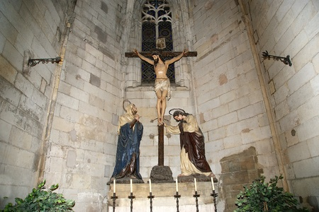 Inside the Cathedral  (La Seu) of Barcelona,Spain