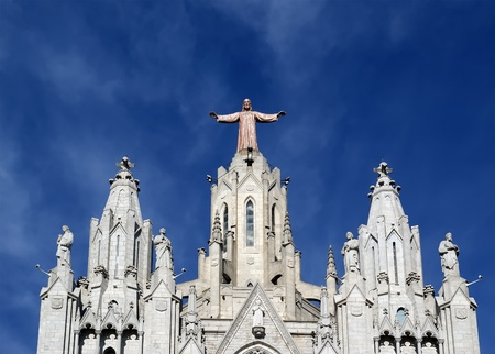 Tibidabo churchtemple, at the top of tibidabo hill, Barcelona, Spain photo