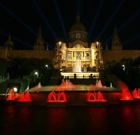 Museu Nacional dArt de Catalunya, Barcelona, Spain. Long exposure nighttime picture