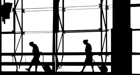 People silhouettes at airport building Stock Photo - 13031098