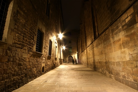 Gothic quarter at night. Empty alleyways in Barcelona photo