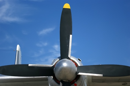 Small plane propeller closeup against blue sky Stock Photo - 13189914