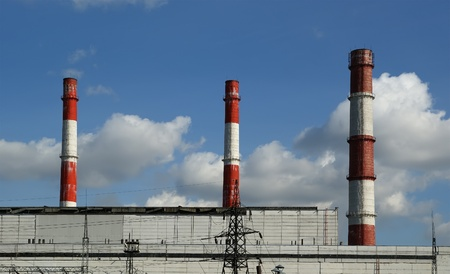 Pipes of coal  burning power station. Moscow, Russia Stock Photo - 13190326