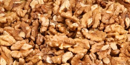 Closeup view of walnut purified on a black background
