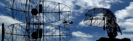 antenna: Modern radar is designed  and automatic tracking of targets and missiles Stock Photo