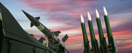 Modern Russian anti-aircraft missiles  5V27DE against the sky Stock Photo - 13203746