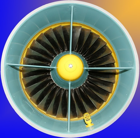 Closeup of a jet turbine. Blades of the airplane turbine  Stock Photo - 13203752