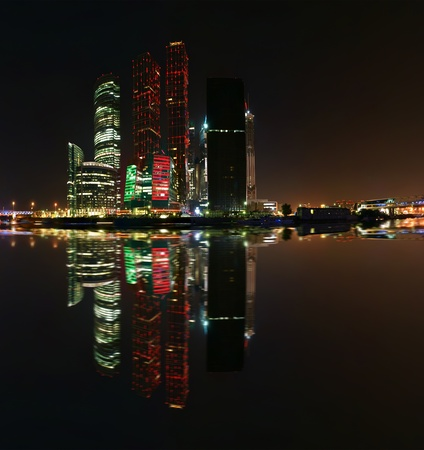 Panorama of the international business centre at night, Moscow, Russia