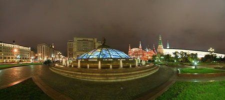 Panorama Manege Square at night, Moscow, Russia photo
