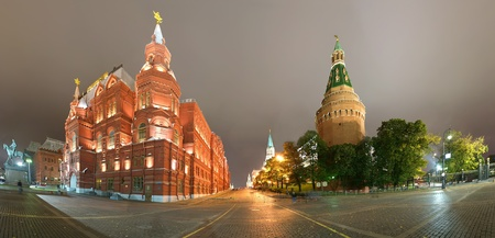 State Historical Museum. Panorama of the night. Moscow, Russia