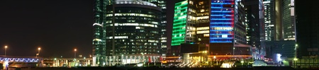 Panorama of the international business centre at night, Moscow, Russia Stock Photo - 13260646