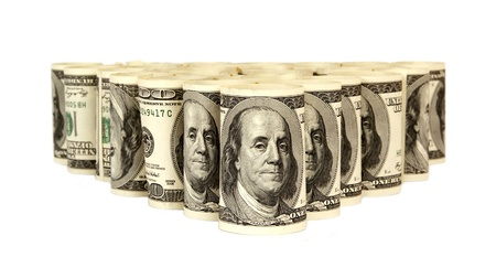 Hundred dollar bills money pile Stock Photo - 14305780