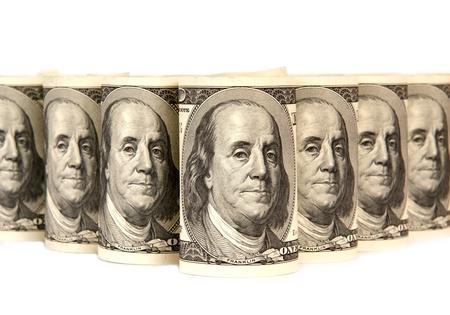 Pila de billetes de cien dólares de dinero Foto de archivo
