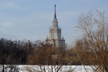 Moscow in the winter  Moscow State University Main building  photo