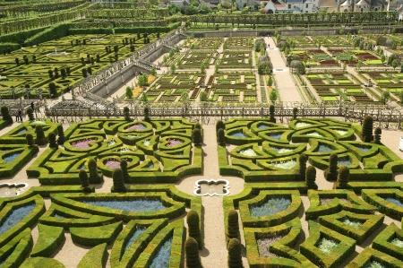 Ornamental gardens near castle of Villandry, France Imagens - 15577492