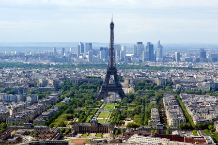The city skyline at daytime. Paris, France. Taken from the tour Montparnasse with the Eiffel Tower, Le Grande Palais, Les Halles, St. Eustace & La Defense clearly visible  photo