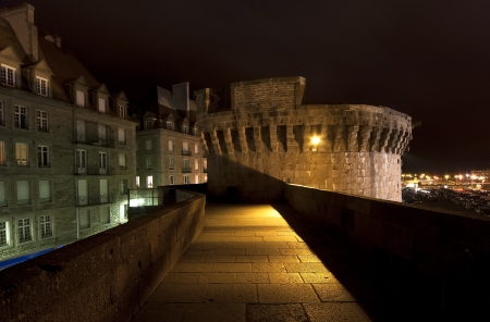 st malo: Saint-Malo at night-- is a walled port city in Brittany in northwestern France on the English Channel  It is a sub-prefecture of the Ille-et-Vilaine