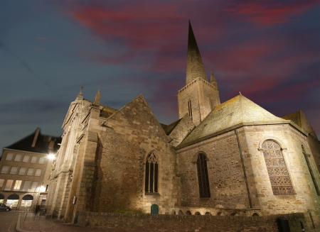 Saint-Malo Cathedral at night-- Cathedral of St  Vincent, Brittany, France photo