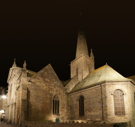 st malo: Saint-Malo Cathedral at night-- Cathedral of St  Vincent, Brittany, France Stock Photo