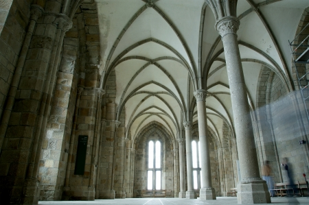 The cloister  Mont Saint-Michel, Normandy, France--one of the most visited tourist sites in France    Stock Photo - 15546980