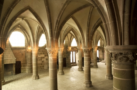 The cloister. Mont Saint-Michel, Normandy, France--one of the most visited tourist sites in France.  Stock Photo - 15547099