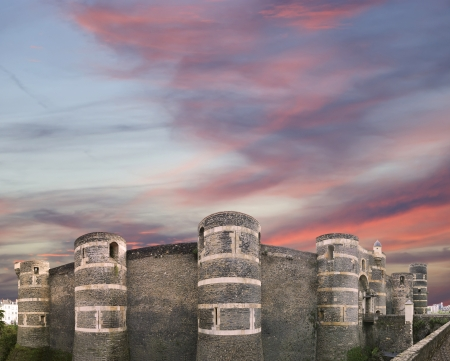 Exterior of Angers Castle  panorama , Angers city, Maine-et-Loire, France Editorial