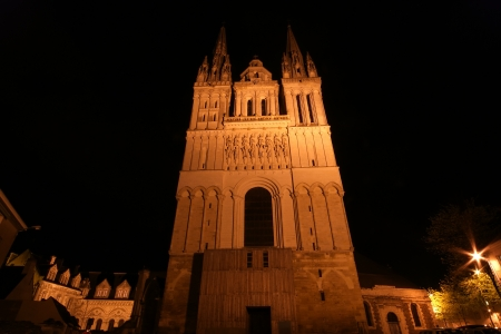 rance: Saint-Maurice Cathedral at night, Angers in France