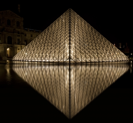 louvre pyramid: Louvre, Pyramid, which was completed in 1989 (by night), France