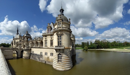 chantilly: panoramic view of the hateau de Chantilly   Chantilly Castle  , Oise, Picardie, France