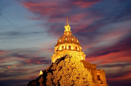 Les Invalides  The National Residence of the Invalids  at night - Paris, France photo