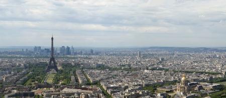 panorama city panorama: El horizonte de la ciudad durante el d�a Par�s, Francia Tomado de la Tour Montparnasse con la Torre Eiffel, Le Grande Palais, Les Halles, St. Eustaquio Defense claramente visible