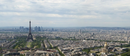 panorama view: The city skyline at daytime  Paris, France  Taken from the tour Montparnasse with the Eiffel Tower, Le Grande Palais, Les Halles, St  Eustace   La Defense clearly visible Stock Photo