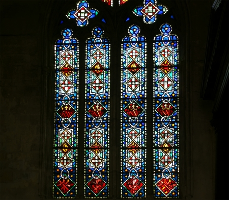 gothic window: stained glass window. Gothic cathedral of Saint Gatien (built between 1170 and 1547), Tours, France