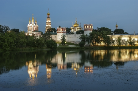 Novodevichy Convent  at night , also known as Bogoroditse-Smolensky Monastery, Moscow, Russia
