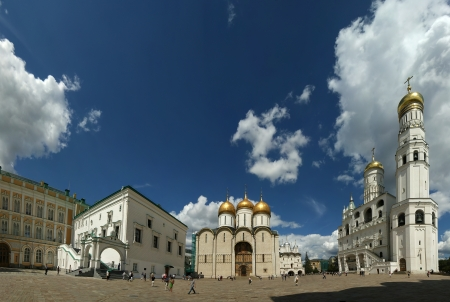 Cathedral Square or Sobornaya Square is the central square of the Moscow Kremlin  panorama , Russia Stock Photo - 15876249