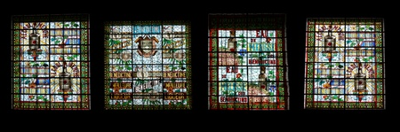 stele: Stained glass window.  Benedictine Palace Museum In Fecamp, Haute-Normandie region in northern France Editorial