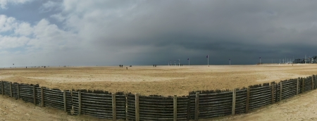 Deauville Beach (panorama), Normandy, France, Europe