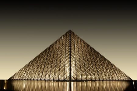 Louvre, Pyramid, which was completed in 1989 (by night), France