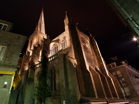 st malo: Saint-Malo Cathedral at night-- Cathedral of St. Vincent, Brittany, France