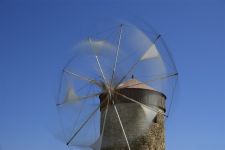 old Rhodes windmills, Greece photo