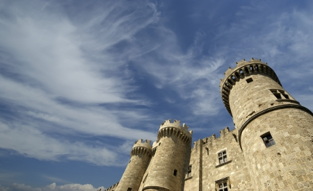 fortified: The famous Knights Grand Master Palace (also known as Castello) in the Medieval town of rhodes