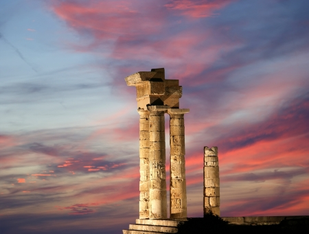 Apollo Temple at the Acropolis of Rhodes at night, Greece Stock Photo